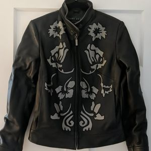 Allan Denis leather jacket with flowers